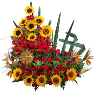 Arreglo floral de cumpleaños de 2 pisos | flor y vida
