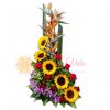 Felicidad arreglo floral de girasoles y orquideas | flor y vida