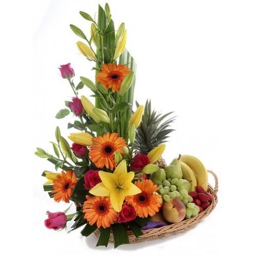 frutero de rosas, lirios, y gerbera Fuerza | flor y vida