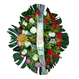 Corona fúnebre de rosas