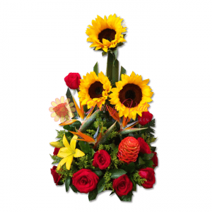 Arreglo floral con ave del paraiso