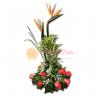 Arreglo floral con ave del paraiso y cancion de la india y rosa salmón y perla