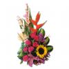 Arreglo floral con rosa fucsia y gladiolo y orquidea hawaiana y girasol y heliconia y lirio
